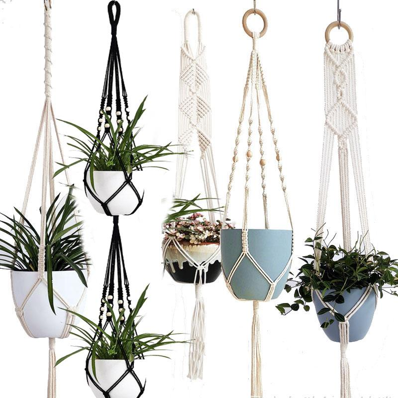 2021 new Handmade macrame plant hanger flower /pot hanger pot tray for wall decoration countyard /garden pot tray for plant