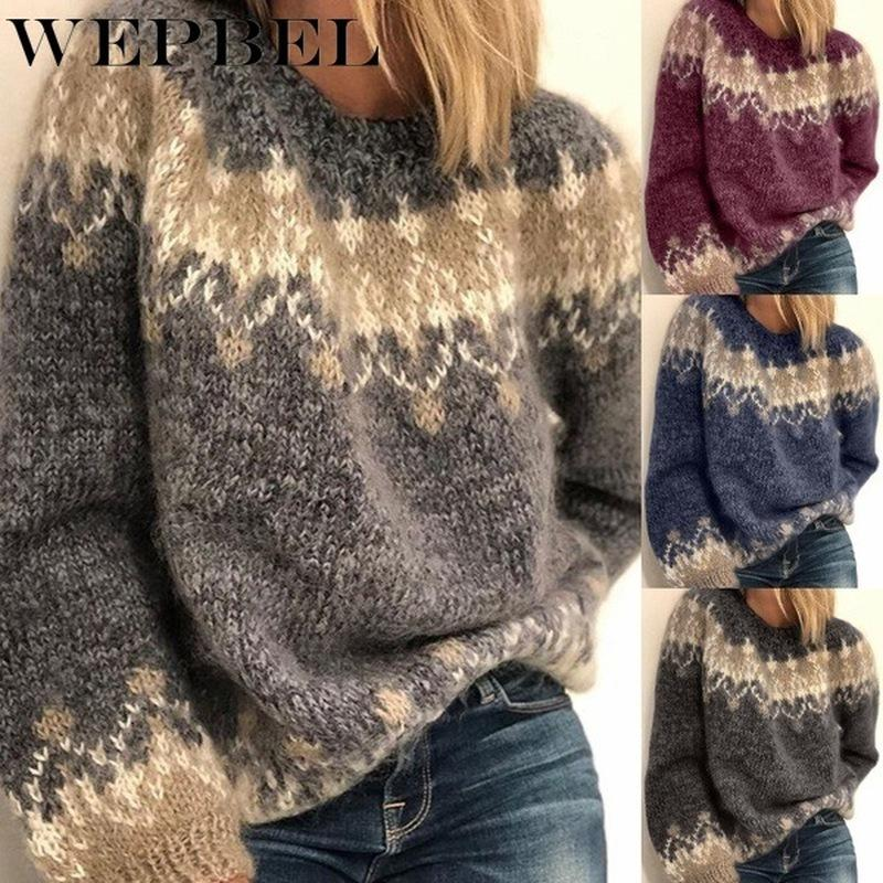 Women's Long Sleeve Knitted Sweater Casual Loose Vintage Pullovers Sweaters Ladies Autumn Winter Keep Warm Sweaters Tops Q1210