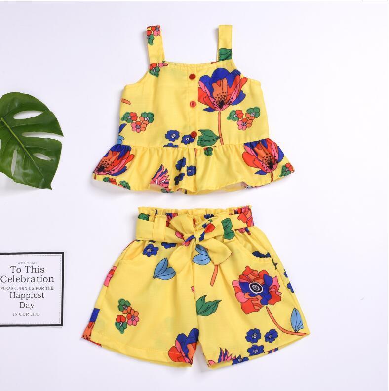 New 2021 Baby Girls Floral Sling Top + шорты ремень девушка цветок печать 2 частей костюма детская одежда набор 1-5 лет