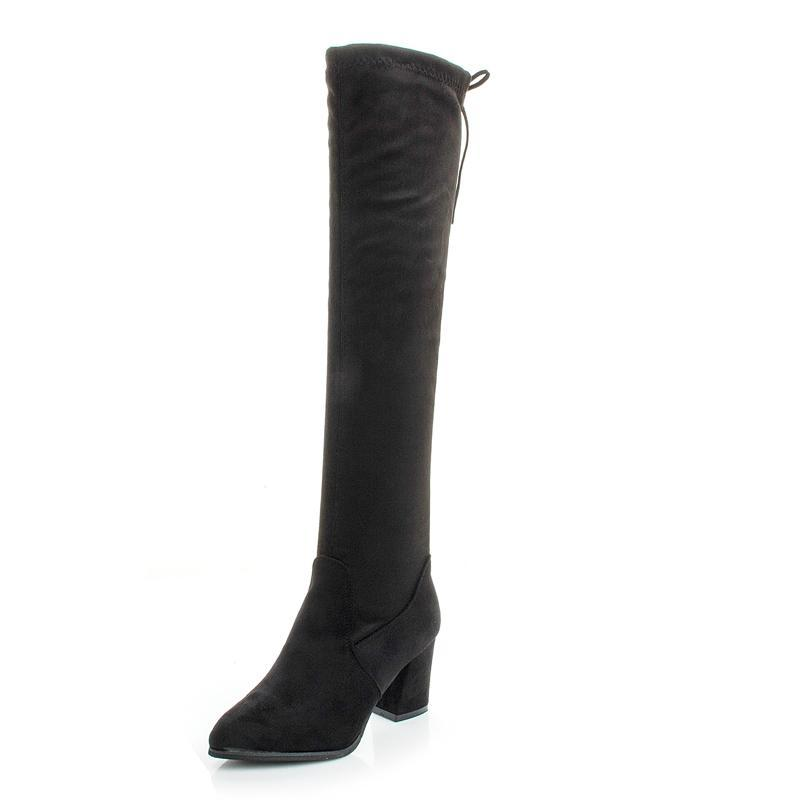 Winter 2021 Women's Shoes Black Temperament High Heel Work Boots Warm Calf Boots Knee Length 50 Cm High Quality