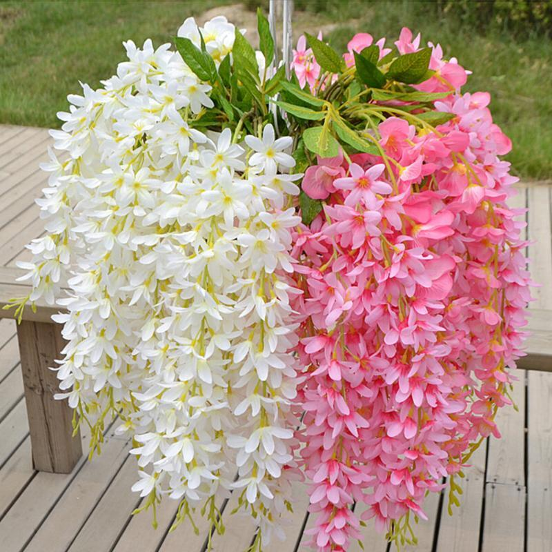 Flower Vines Garland Home Decoration Wedding Party Decor Fake Silk Wisteria 5 head/Bunch Artificial Clove DIY Hanging Rattan