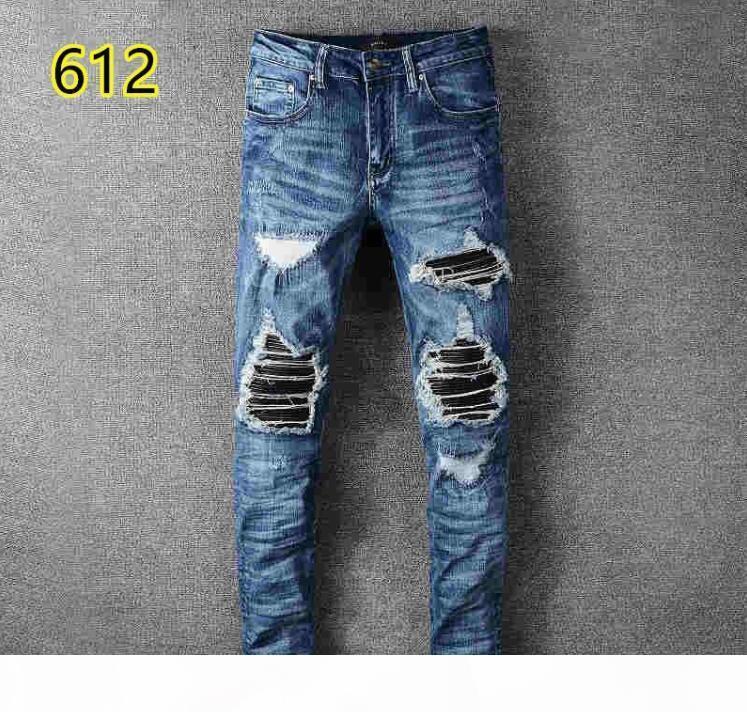 Nouvelle marée Haute Qualité Haute Qualité Stretch Pieds Slim Pieds Pantalons Brodé Collage Jeans Mode Marque Mens Pantalons
