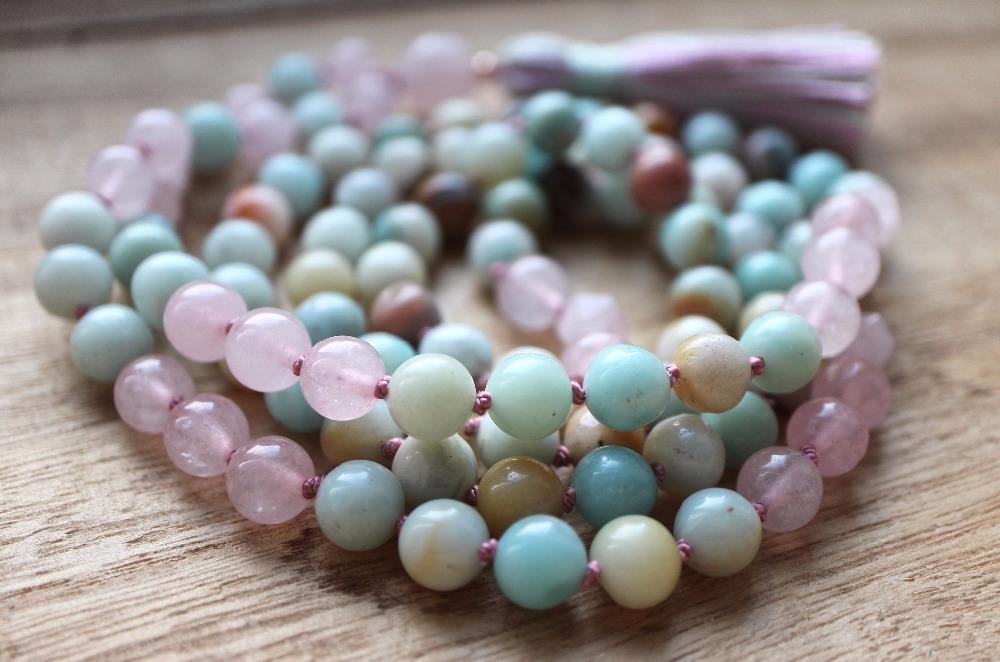 ITE 108 Mala Perle Halsketten Rosequarz Halskette Yoga Meditation Schmuck Quaste Halskette Hand Geknotet Yoga Gebet Halskette F1204