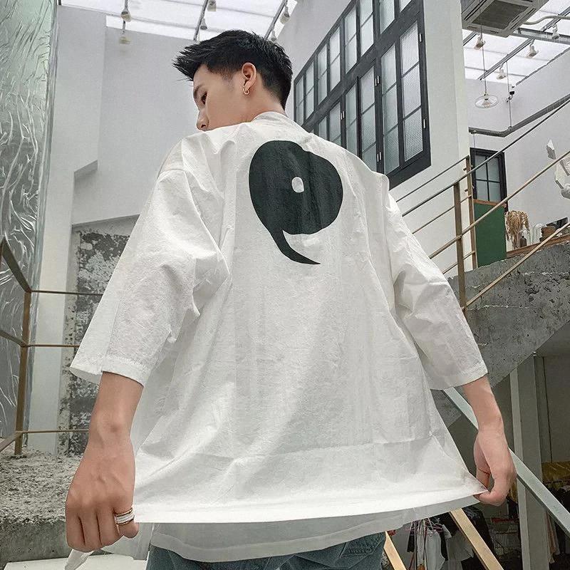 2020 Primavera e Verão Nova Juventude Popular Solto Fino Harajuku Estilo Japonês Sete-Point Sleeve Cardigan Moda Casual Top # LD5X