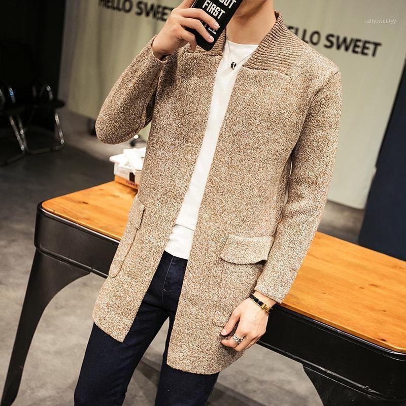 2020 осень зима длинный свитер кардиган мужчин Англия стиль хаки вязаное пальто мужское погребочное вообщение с карманным вязать ветровка мужчины1