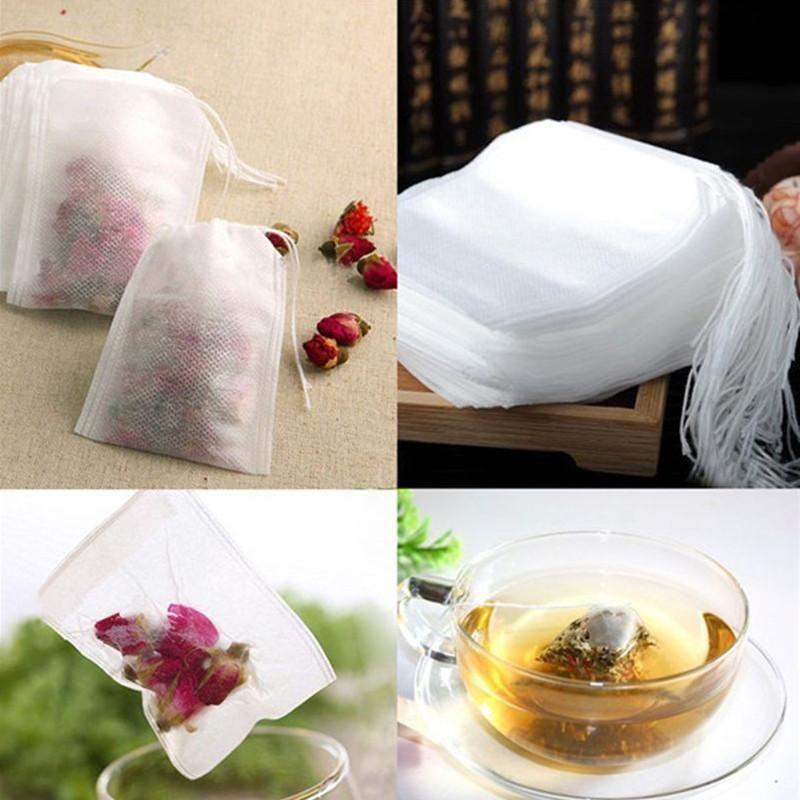 100pcs / pack teabags 5,5 x 7 cm borse per tè profumati vuoti con corda curare la carta da filtro sigillo per erbe tè allentato EAA2189