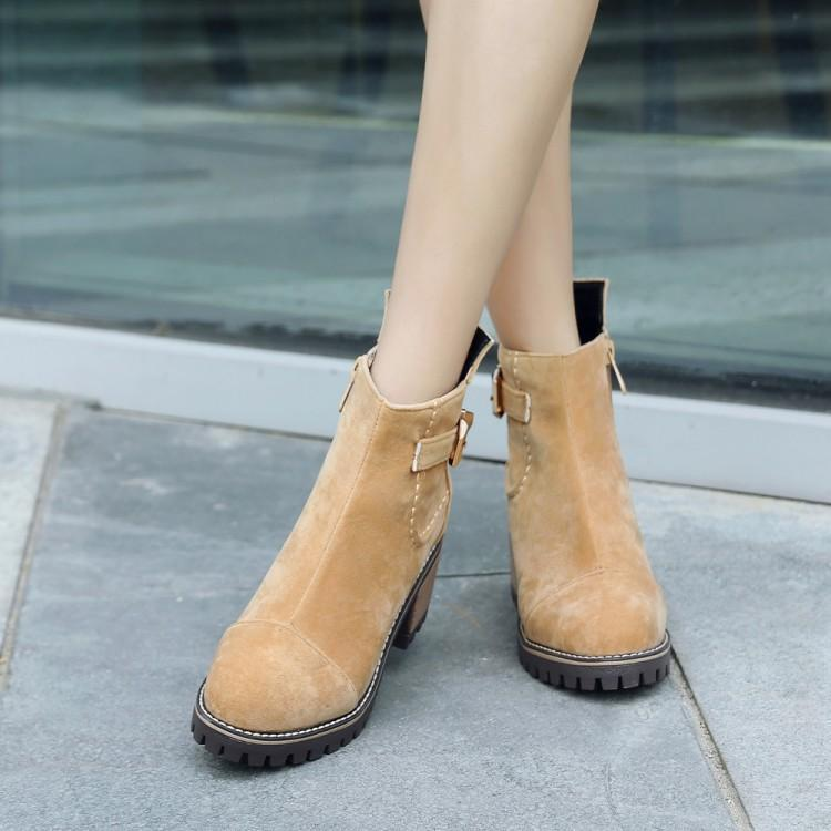 Grande taille moyenne-talon et bottes à semelles épaisses, bottes nues poncées, enfants de bottes européennes et américaines