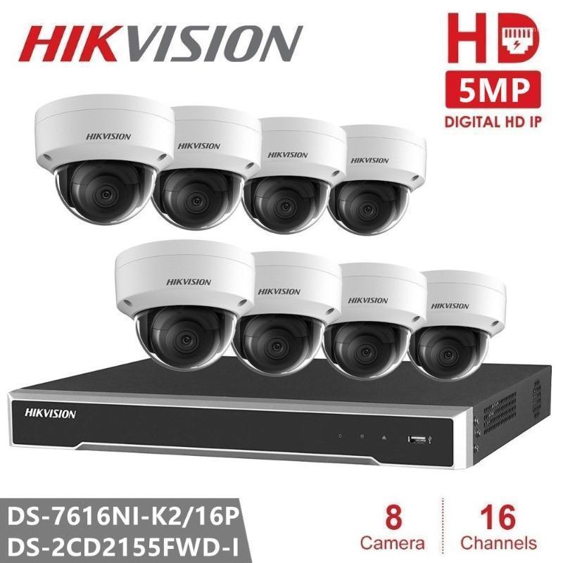 Hikvision Poe NVR Kit 16 Canal 8 pcs HD 5MP Poe Dome Câmera IP H.265 com função de áudio P2P NVR Kit CCTV Camera System1