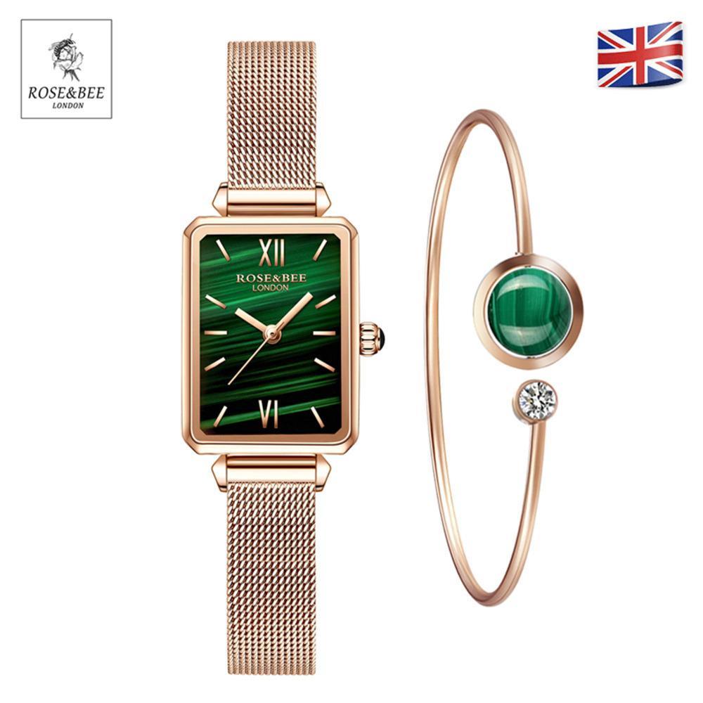 1 conjunto pulseira Assista Genuine Leather Strap Green Malaquita Japão Quartz Lady Primeira Camada Cinto de Curto De Cinto Rose Gold Women Watches J1205