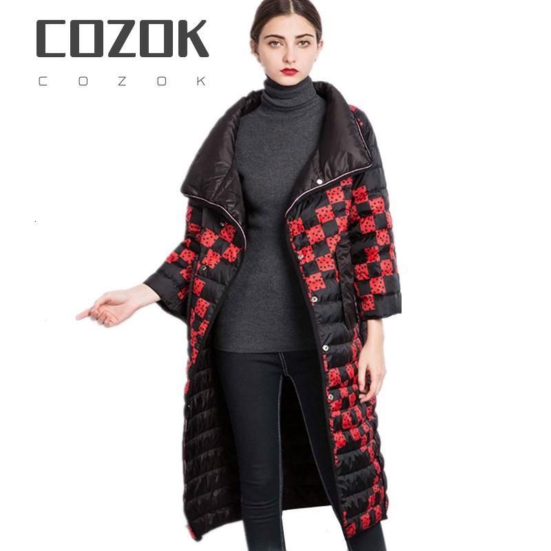 Cozokwomen 2020 Giacca invernale Ultra-Light 20% Duck Down Coat Femmina Lungo Lati-Lati Parka Chaqueta Mujer Wyq959