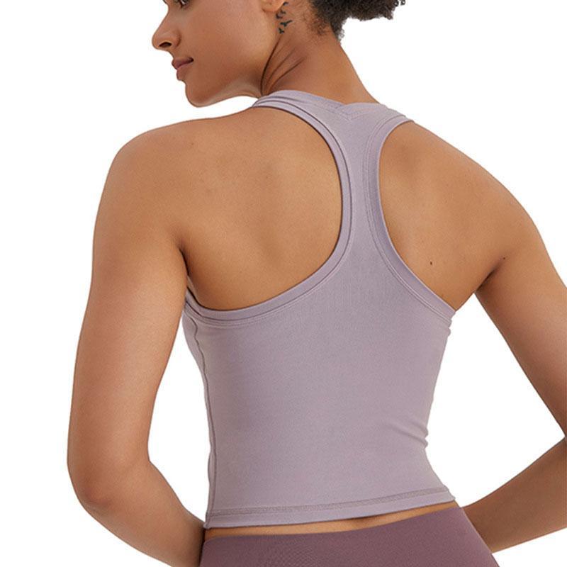 T-shirt Sexy Yoga T-shirt Couleurs solides Femmes Fashion Outdoor Yoga Tanks Sports Courir Gym Tops Vêtements L-08