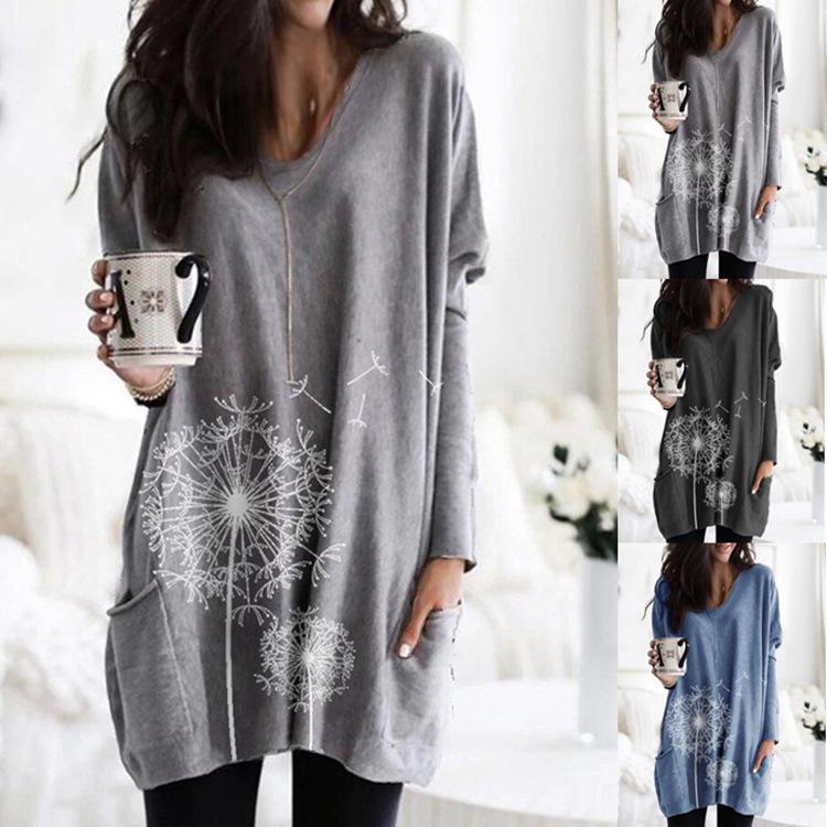17 색 S-5XL 2021 새로운 여성 유행 캐주얼 라운드 넥 인쇄 긴팔 셔츠 스웨터 느슨한 티셔츠 21602534356932