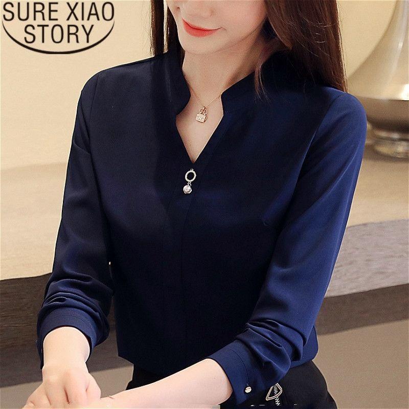 Top da donna e camicette Blusas Mujer de Moda Camicie perline Chiffon Camicetta Solid scollo a V bianco Camicie 2412 50 201201