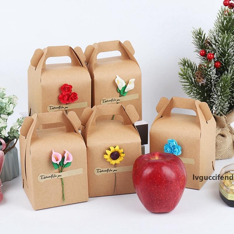 Bolsa de Navidad hermosa flor de la caja de regalo del papel de Kraft la caja del caramelo Feliz Navidad del regalo del partido de embalaje decoración del hogar