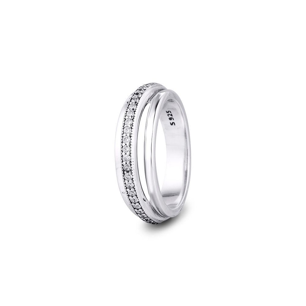 Ckk anillo triple banda pavimenta anillos mujeres anel feminino 100% 925 joyas de plata esterlina anillos mujer boda compromiso compromiso