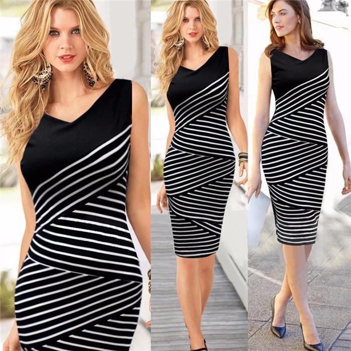 Black White Striped Womens Dresses Summer Sleeveless V Neck Plus Size Casual Dress For Women High Waist Bodycon Pencil Dresses