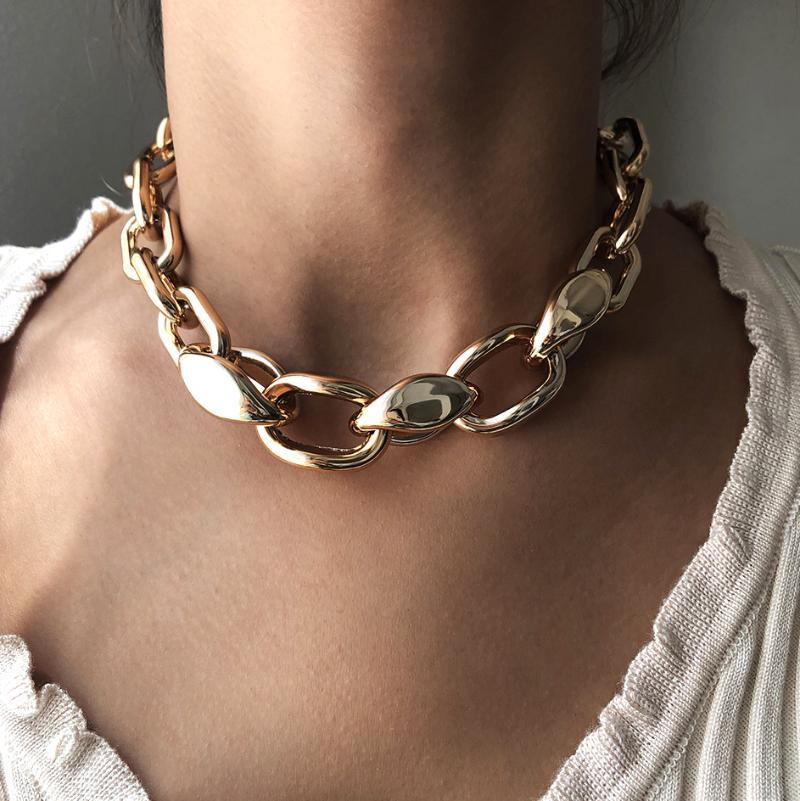 Collana Choker Chunky Breve Splicing Collana per le donne Hip-Hop Punk Addensen Catena uomo Collana Gold Color Lovers Gemple Jewelry