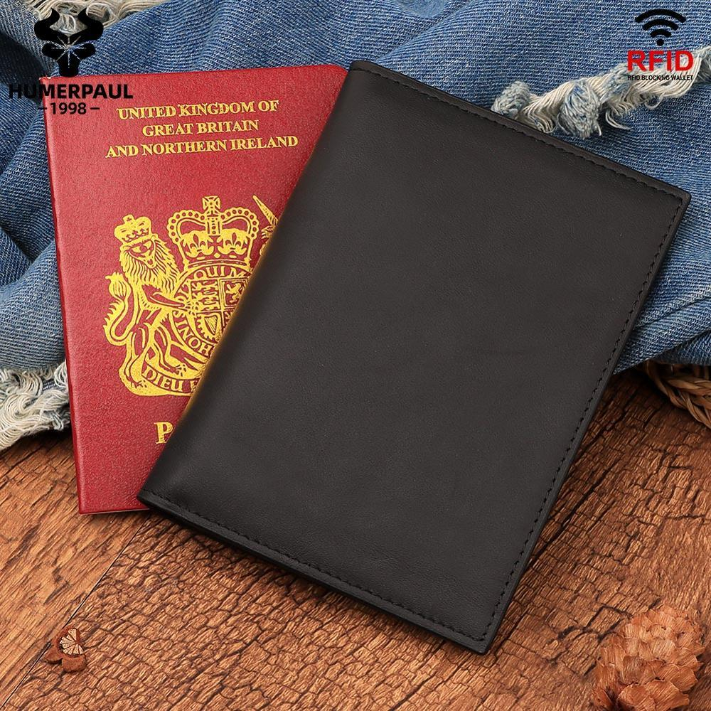 Huckerpaul Top Quality Casual Genuine Pelle Portafoglio maschio Design di lusso Design del passaporto Supporto per passaporto per la borsa del passaporto di viaggio per gli uomini