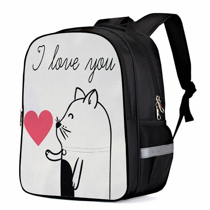 Valentín gatito te amo portátil mochilas escolares del niño del bolso del bolso de libro bolsas de deporte Botella Side Pockets T5td #