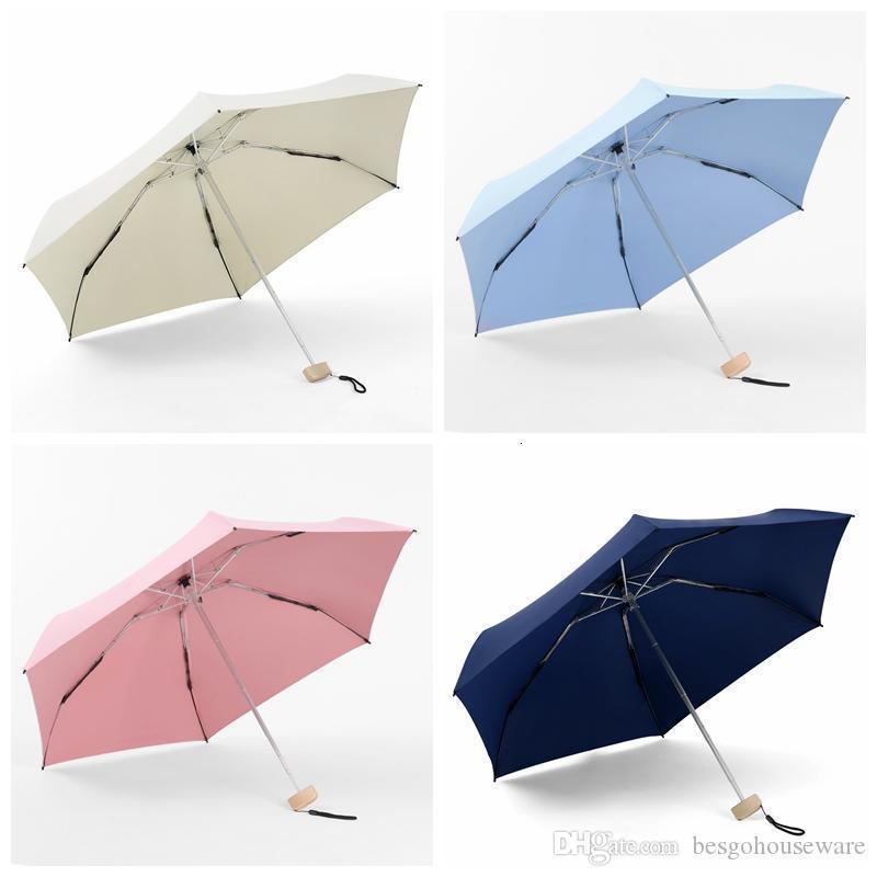 Seyahat Taşınabilir Beş Katlanır Mini Cep UV Yağmurlu Güneşli Şemsiye Kadın Erkek Su Geçirmez Güneş Gölge Şemsiye BC BH0835