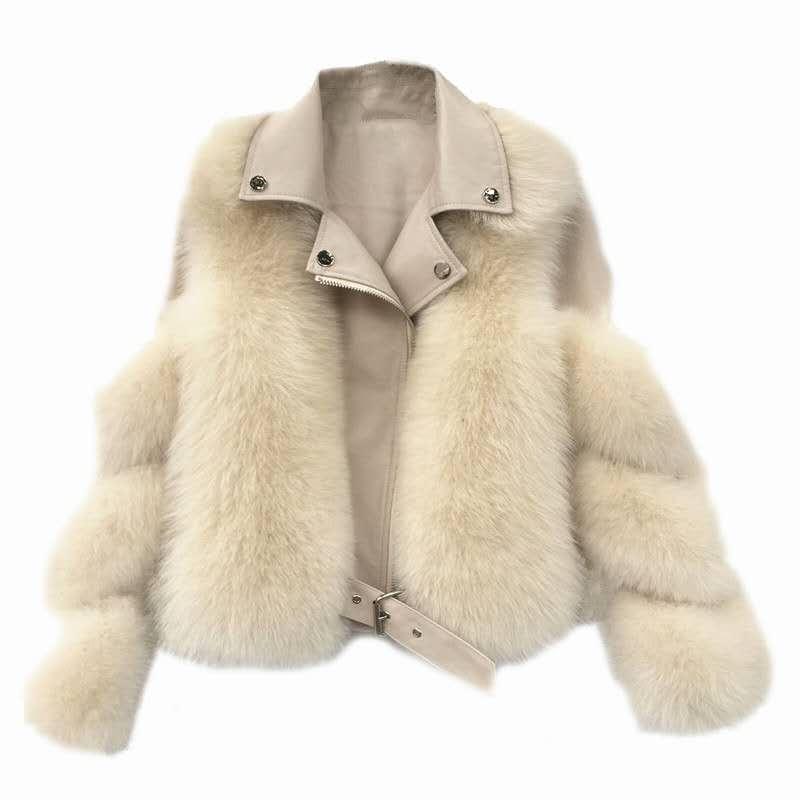 Femme Fourrure Faux Imitation Manteau Femmes 2021 Mode d'hiver À manches longues à manches courtes à glissière de fermeture à glissière femelle veste de la moto de la moto H916
