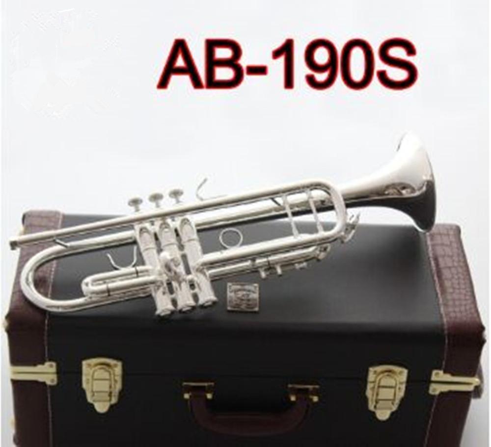BACH di alta qualità American AB-190S Tromba placcato argento placcato oro trombetta professionale strumenti musicali con bellissimo caso spedizione gratuita