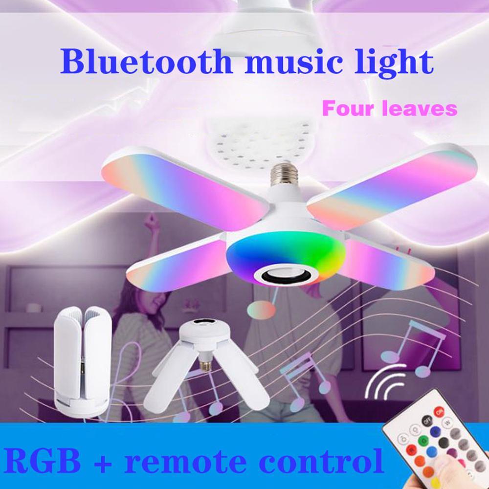 Bluetooth Müzik Işık RGB LED Lamba Dört Yaprak Fan Şeklinde 50 W E27 Ampuller Uzaktan Kumanda ile Katlanabilir Akıllı Hoparlör Işıkları