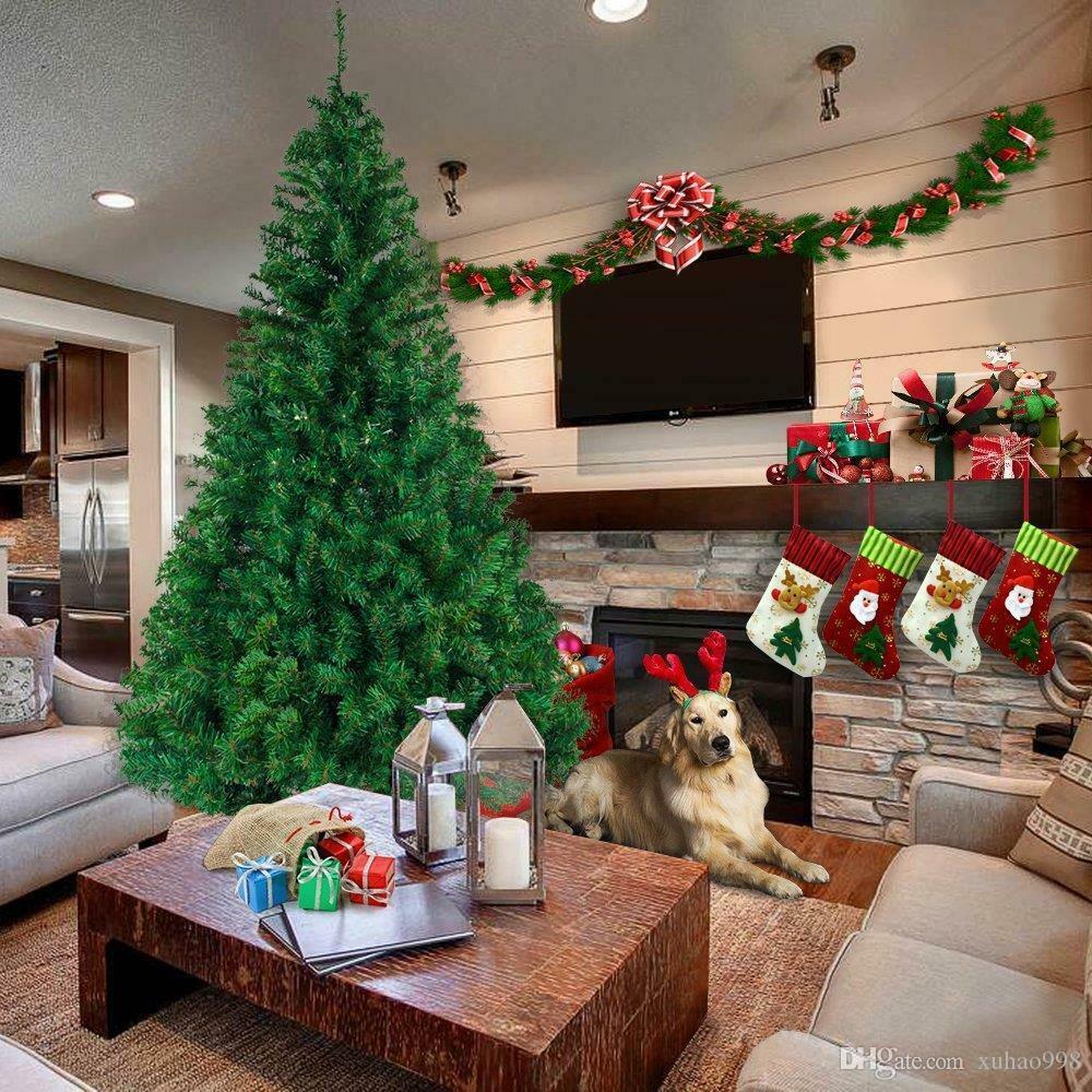 8 pieds de hauteur arbre de Noël w / socle de vacances saison intérieur extérieur extérieur extérieur
