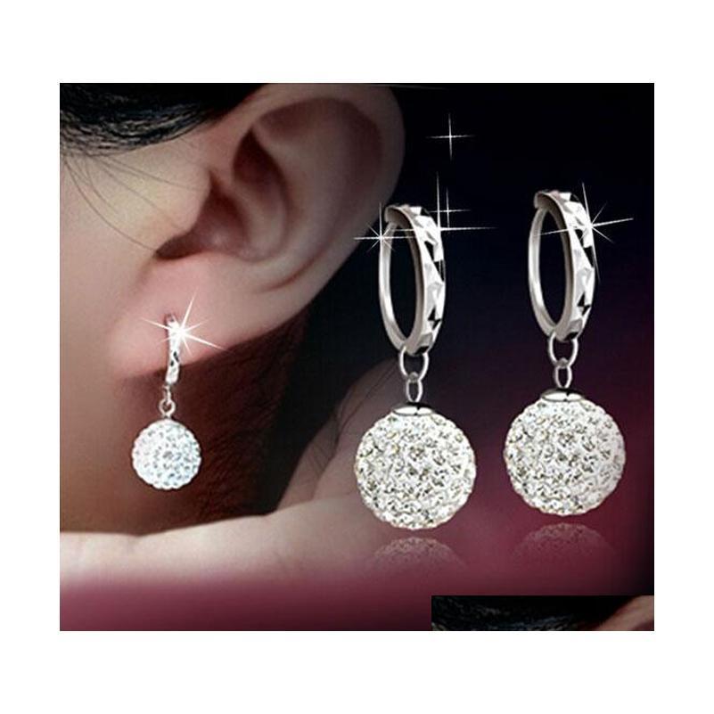 Pendientes de cuello de cristal austriaco Rhinestone Disco Ball Ear Jewelry 925 Pendientes de plata esterlina para W SQCZKR DH_SELLER2010