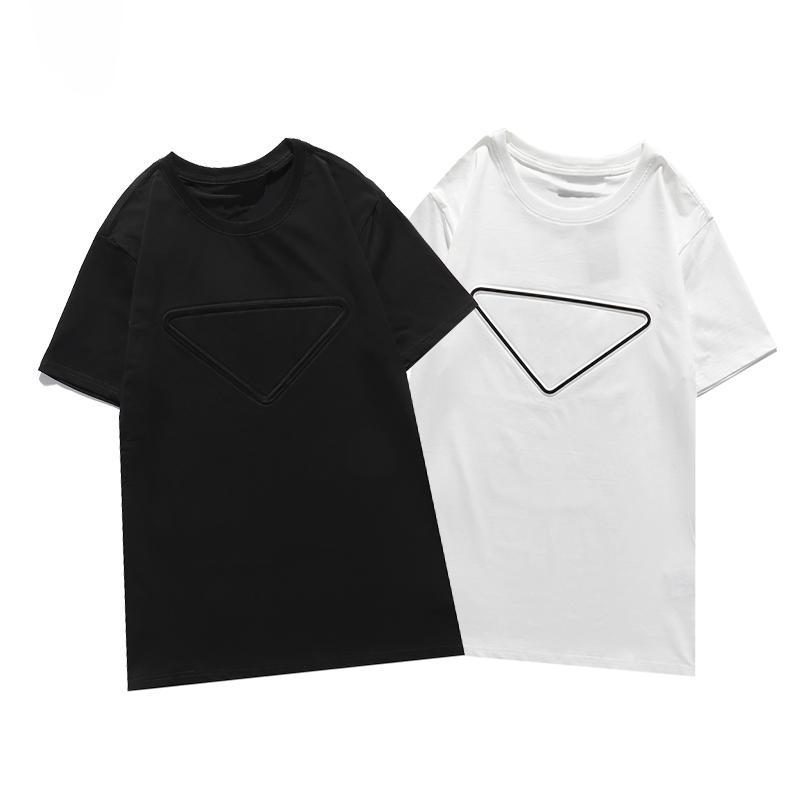 2021 الفاخرة عارضة تي شيرت جديد الرجال ارتداء مصمم قصيرة الأكمام تي شيرت 100٪٪ جودة عالية بالجملة الأسود والأبيض حجم S ~ 2XL
