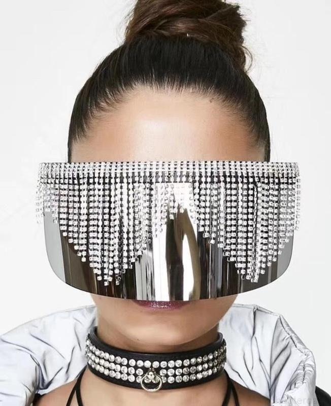 Lüks Moda Rhinestone Büyük Boy Ayna Güneş Gözlüğü Kadınlar Için Erkekler 2020 Büyük Çerçeve Maske Elmas Bling Gümüş Gözlük Gölge