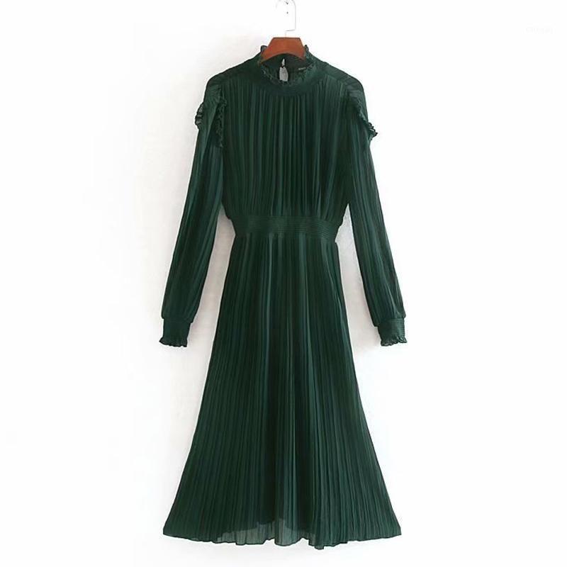 AGong Stand Collar Dresses Women Fashion Solid Slim Cascading Dress Women Elegant Pleated Mid Calf Dresses Female Ladies JN1