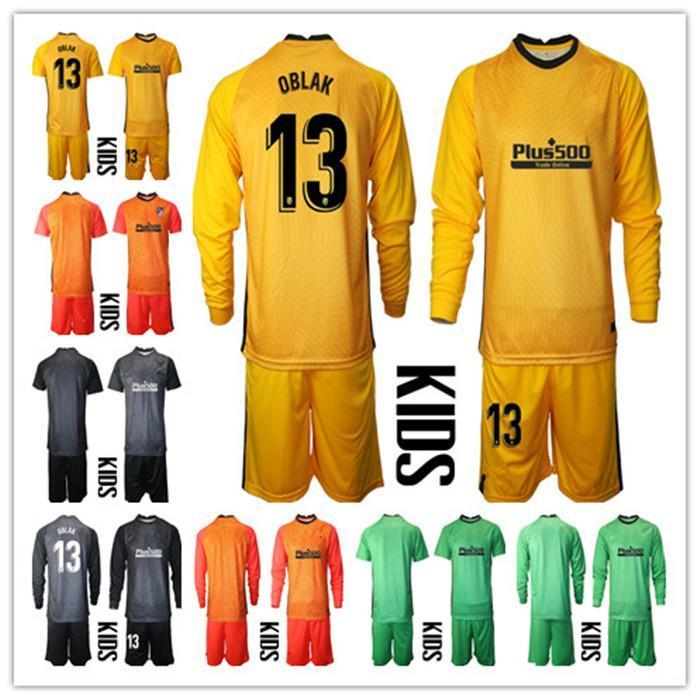 Manica lunga 2020 2021 Kid Youth Youth Avans Oblak Portiere Pianterie Bambini Soccer Set # 13 Jan Oblak # 1 Adan Kid Boy Portiere per bambini Uniforme