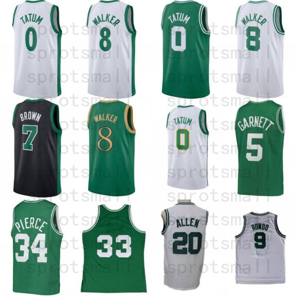 Kemba 8 Walker Jayson 0 Tatum Jaylen 7 Brown Rondo Kevin 5 Garnett Paul 34 Pierce 20 Allen Baloncesto Jersey