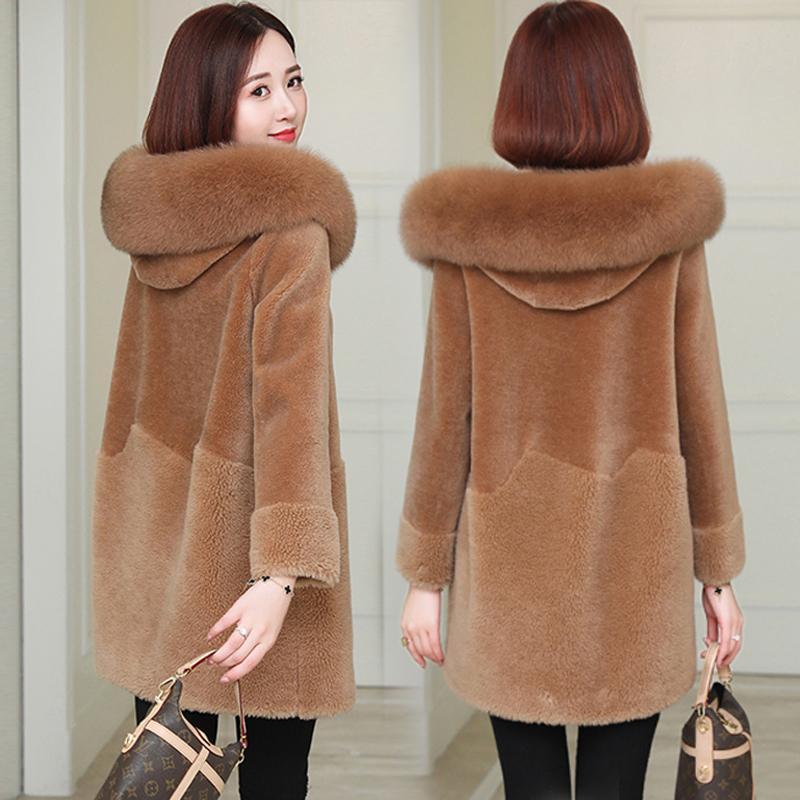 Frauen Pelz Faux Winter Warme Luxus Weibliche echte Lammwolle Plüsch Mäntel mit Kapuze Oberbekleidung Kleidung Künstliche lange Jacke Plus Größe 3XL
