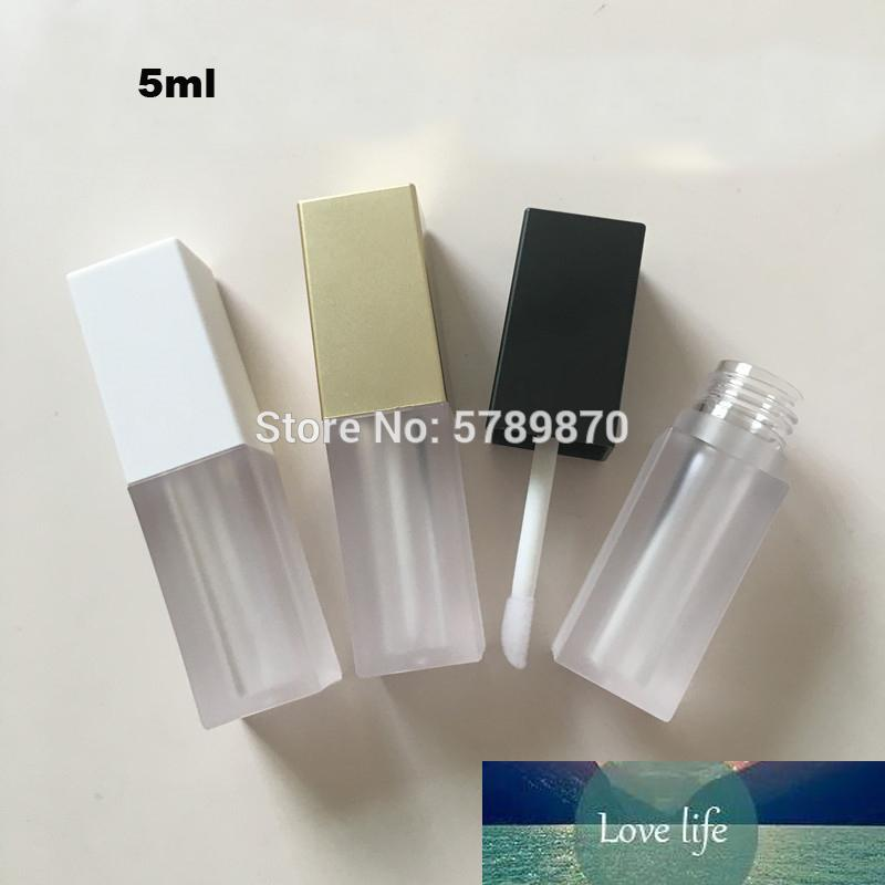 5ml Square Plastic Clear Liquid Lipstick Packing Bottle Empty White/Gold/Black Cap Lip gloss Matte Tubes Cosmetic Containers