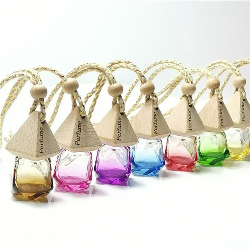 Bouteille de parfum de voiture de diamant Pendentif airfroiseur de parfum parfum parfum Diffuseur de verre vides bouteille de verre Pendentif portable ornement WB3134