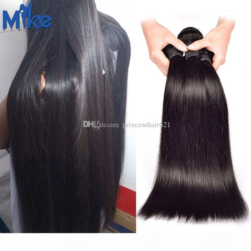 MikeHAIR Brazilian Straight Hair 3 Bundles Double Wefted 100% Human Hair Extensions Peruvian Indian Malaysian Remy Hair Weaves 100g pcs