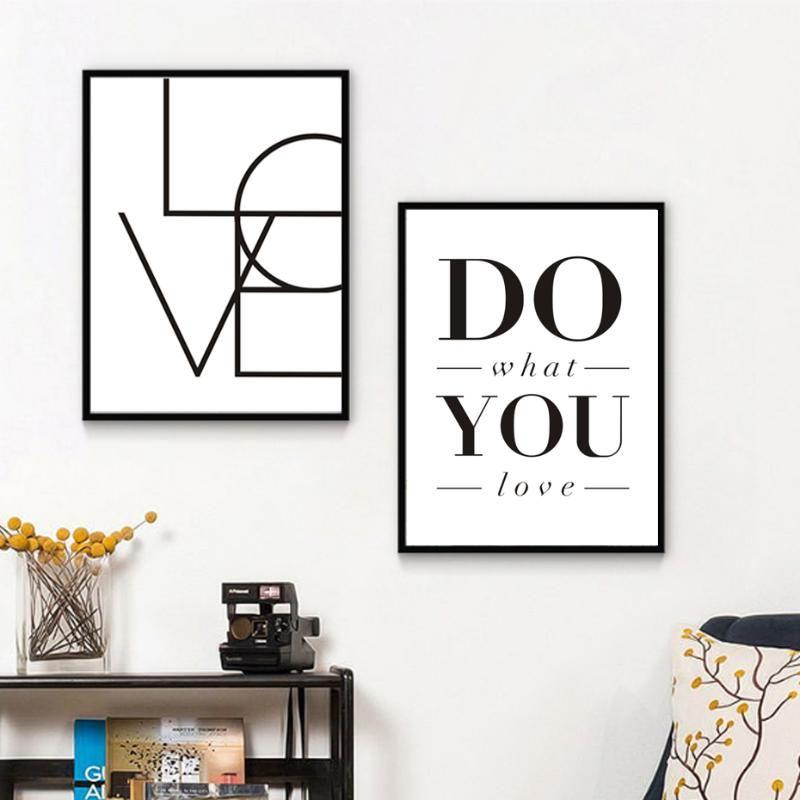 Sure Life Love Sign lo que amas las palabras Minimalistas Lienzo Pinturas Negro Blanco Imprimible Arte de la pared Cartel de la decoración del hogar