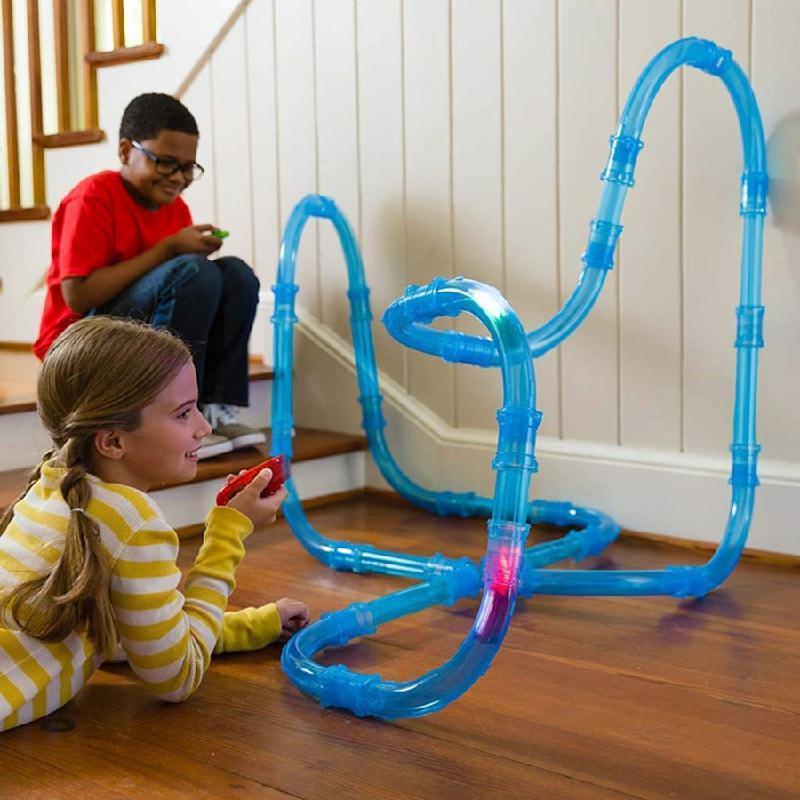 72 teile / satz Kinder Puzzle montierte Fernbedienung Track Auto elektrische Licht emittierende High-Speed-Pipeline-Track Racing Boy Toy 201124
