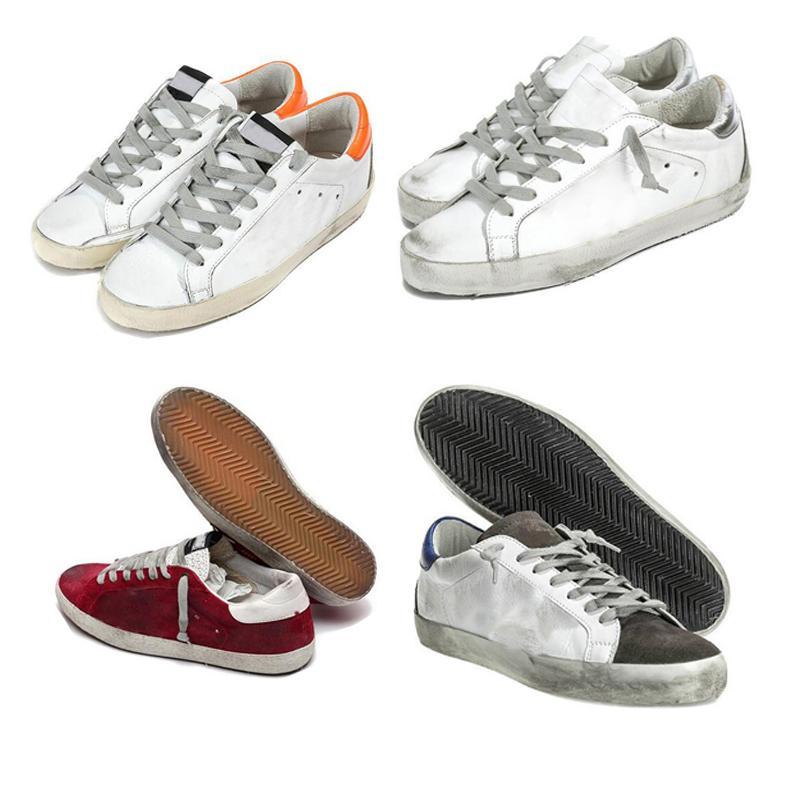 Moda Hombres Mujeres Sneakers Old Sneakers Genuine Cuero Villos Shoes Casual Shoes Mens And Women Golden Superstar Entrenador Zapatos Tamaño 36-46
