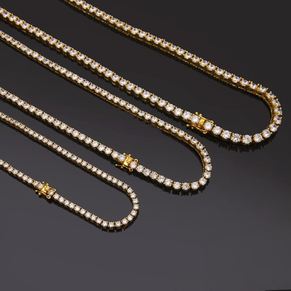 HipHop Gold Silver 3mm 4mm 5mm 6mm Cubic Zircon Men Tennis Chain Necklace 1 Row Jewelry Drop Shipping