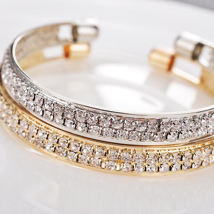 Neue Mode Armband Hohe Qualität Beliebt Rose Gold Silber Diamant 2 Reihen Öffnen Armband Weibliche Armband Schmucksachen