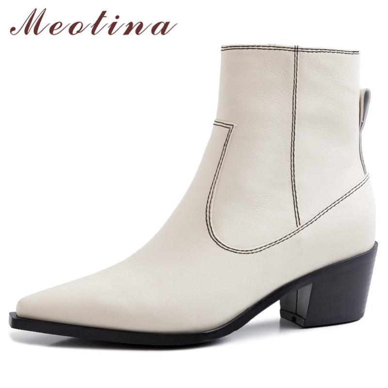 Meotina Winter tornozelo botas Mulheres Natural Genuine Leather Couro Chunky Botas Botas Zipper Sapatos de Toe Sapatos Feminino Outono tamanho 39