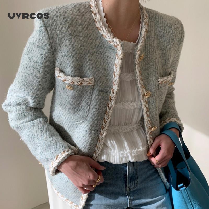 Uvrcos 2020 outono inverno tweed casaco mulheres manga longa Único estilo coreano estilo minimalista casacos elegantes vestidos elegantes