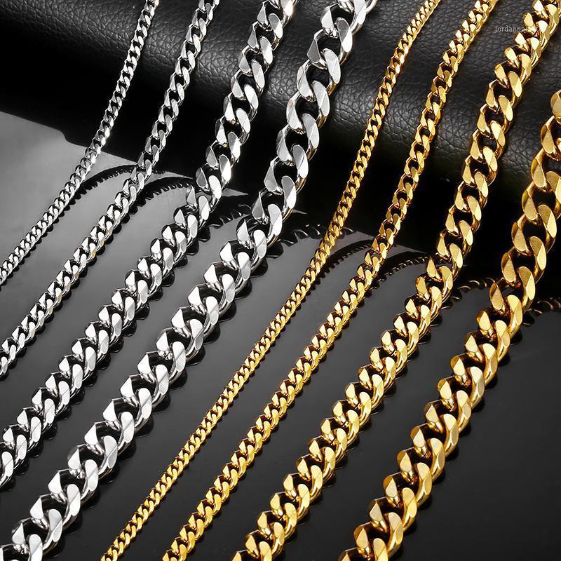 Halsketten für Männer Frauen Silber Schwarz Gold Edelstahl Bordsteinkubanische Ketten Herren Halskette Großhandel Schmuck 3/5/7 / 9/11mm LKNM081