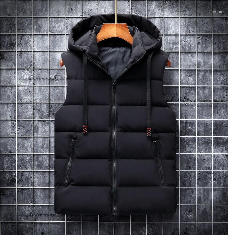 Automne hiver 2020 Gilet Hommes Casual Wayctoat Vestes sans manches Woih à capuche Chaud Hommes Gilets Bodywarmer Down Gilet pour Hommes 6XL1