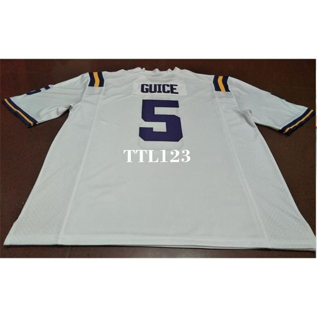 Männer # 5 White Purple Derrius Guice LSU Tiger oder benutzerdefinierte Namens- oder Nummer Alumni College Jersey