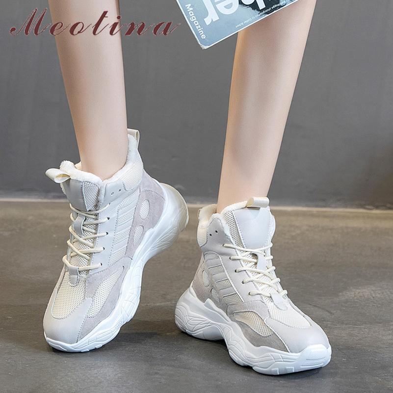 Meotina Doğal Hakiki Deri Flats Platformu Sneakers Kadınlar Yuvarlak Toe Çapraz Bağlı Ayakkabı Bayanlar Sonbahar Kış Büyük Boy 43 Q1207