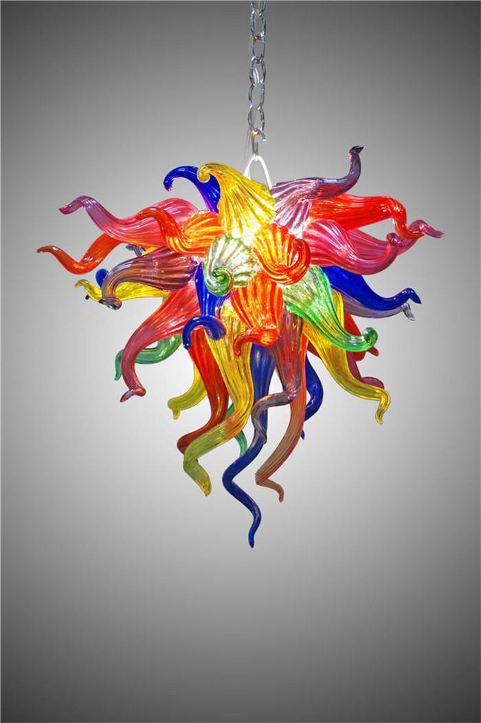 Decoração de casamento Arte de vidro Chihuly estilo candelabro mão colorido vidro soprado art deco lâmpadas de pingente de vidro com lâmpadas LED